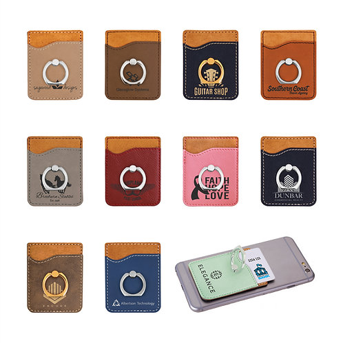 Leather Cell Phone Wallet with Silver Ring