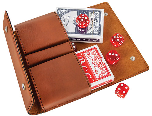Leather Dice & Card Set