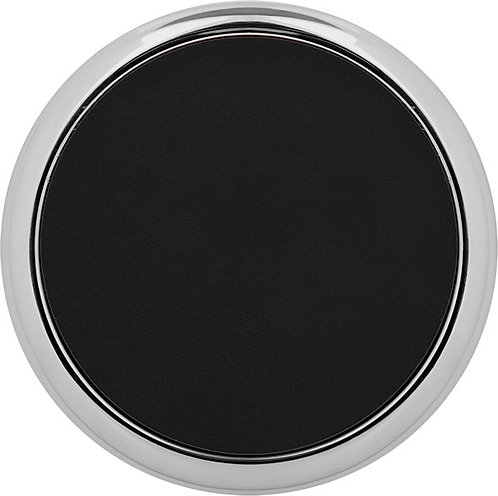 Round Leather Coaster with Metal Edge
