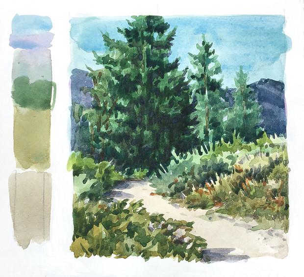 Watercolor Landscape above Swan Lake, Colorado