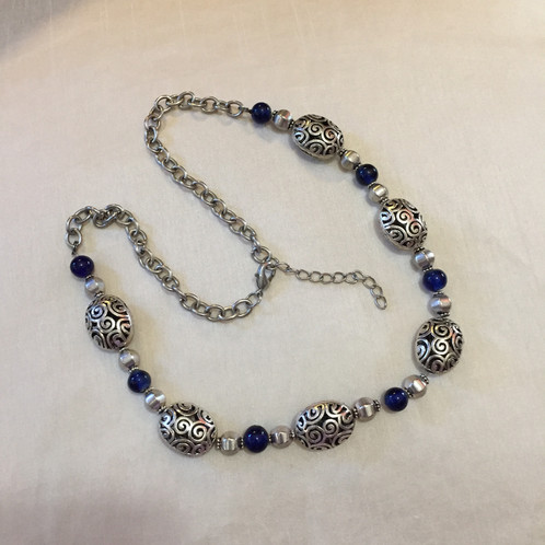 medal marian the blue vintage catholic company cobalt glass necklace