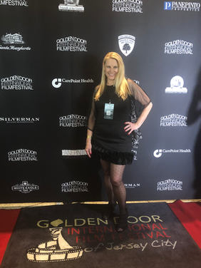 Linda Collins on the red carpet at Golde