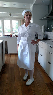 on set as Nurse Collins in We Be Nurses