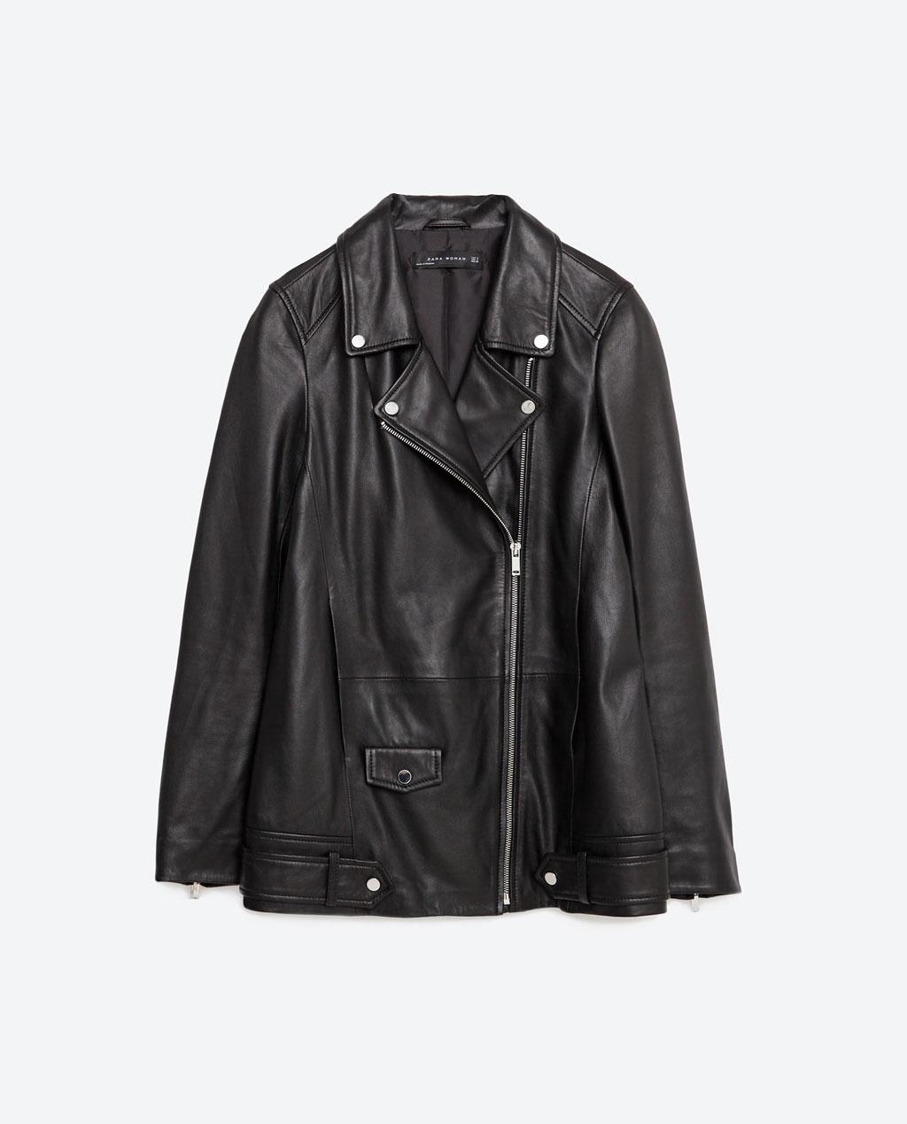 ZARA long leather jacket