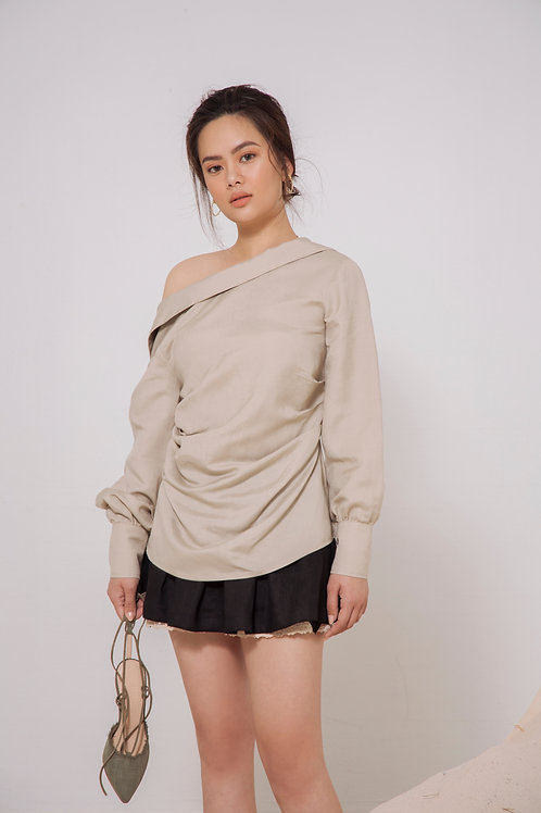 Open Collar Linen Shirt