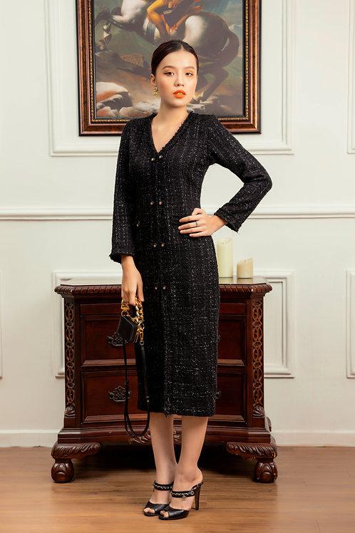 BLACK TWEED LONG DRESS