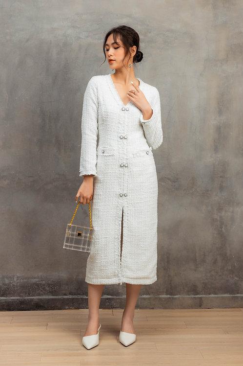 ELEGANT WHITE TWEED DRESS