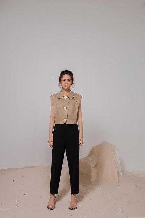 Sleeveless Linen Blazer