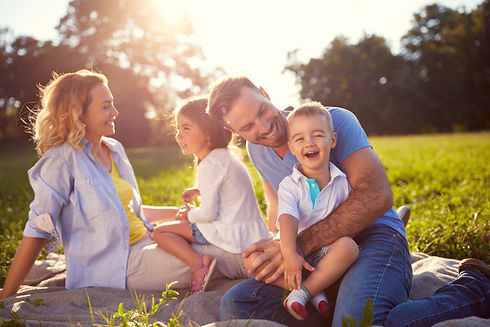 Young family with children having fun in