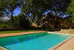 Heated pool 6m x 12 m towards house