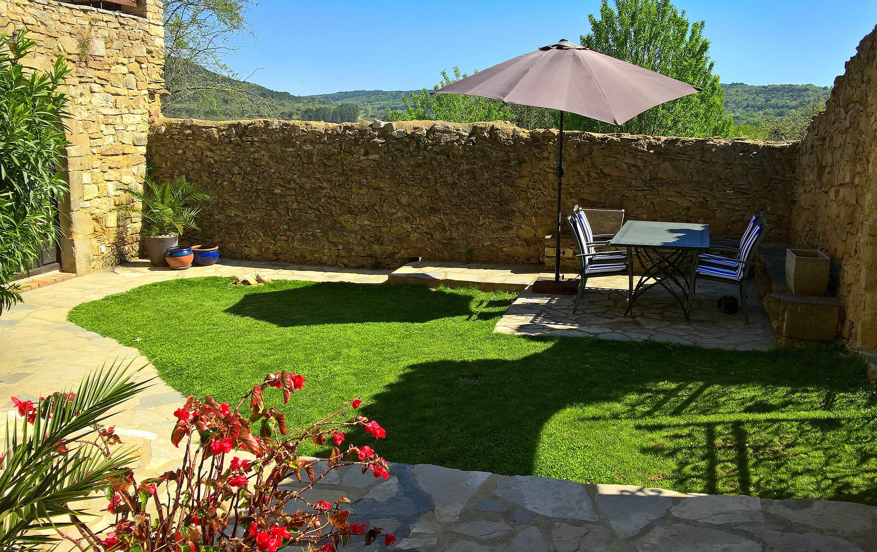 The 50m² walled courtyard