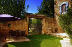 Walled courtyard west view