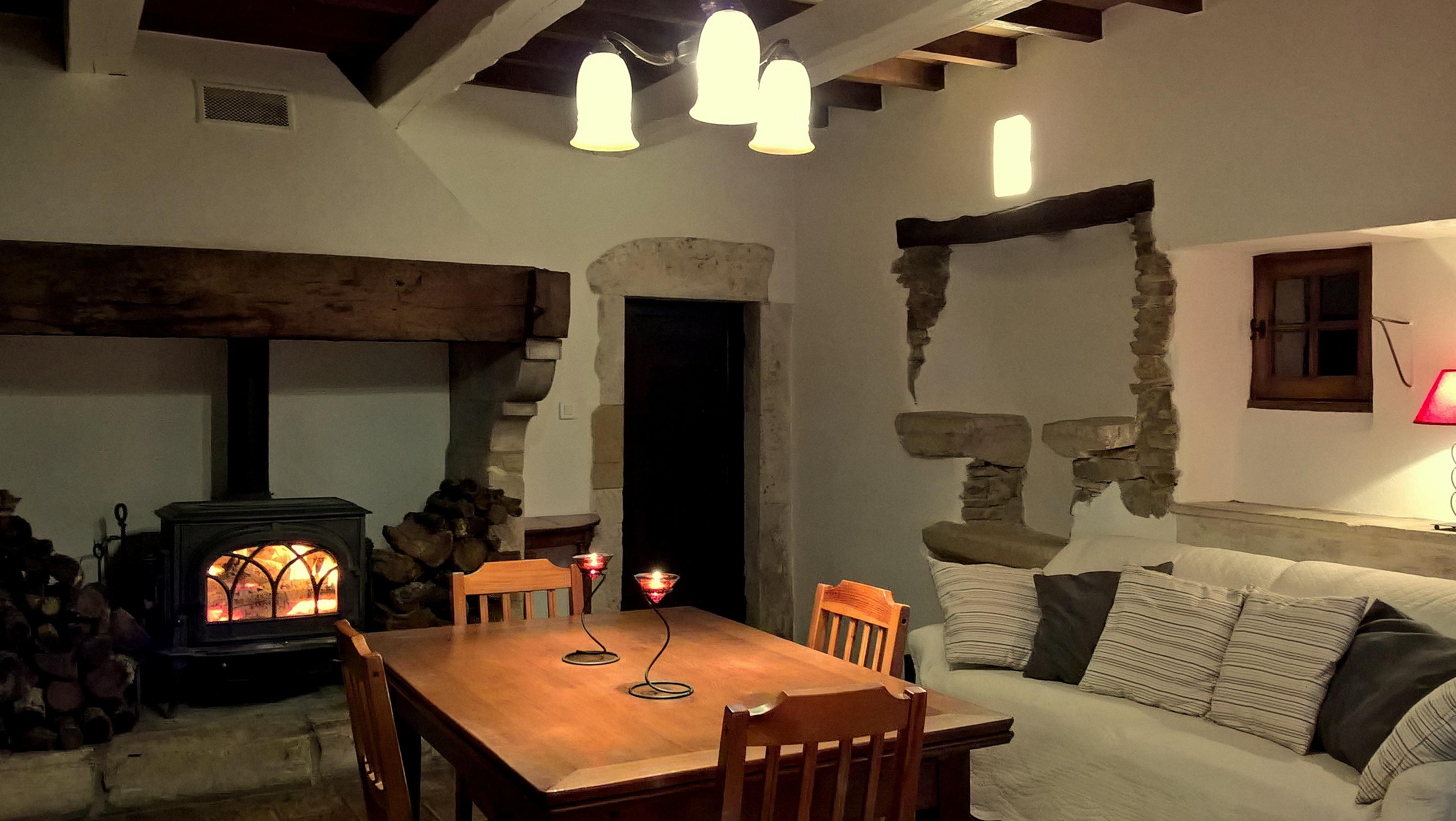 Wohnzimmer mit Kamin und Terrasse