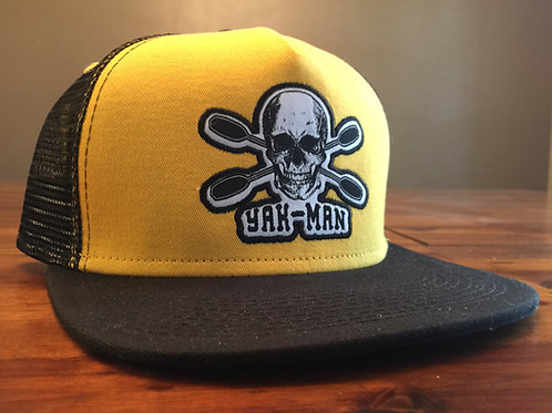 YAK-MAN Flat Bill Snap-Back Hat Yellow/Black
