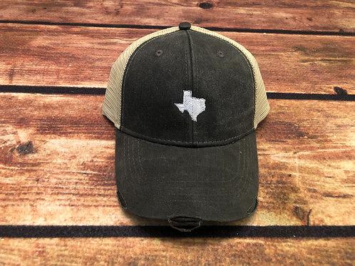 Distressed Texas Trucker - Black