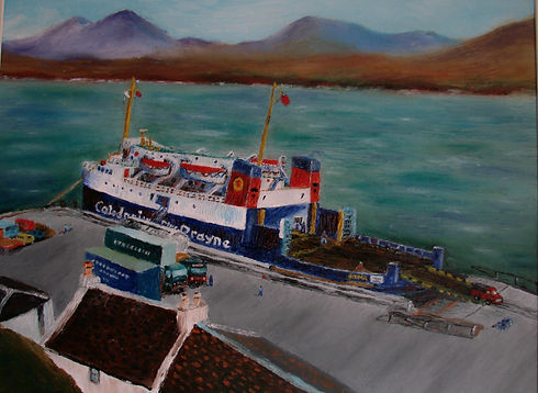 MV  Iona at Port Askaig by Donald E Meek