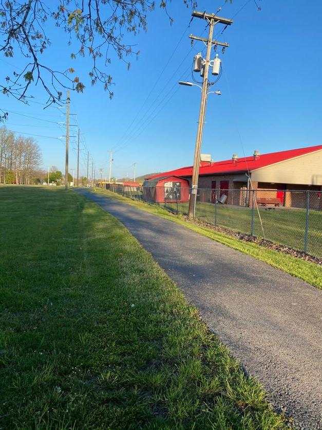 Walking trail football field side revers