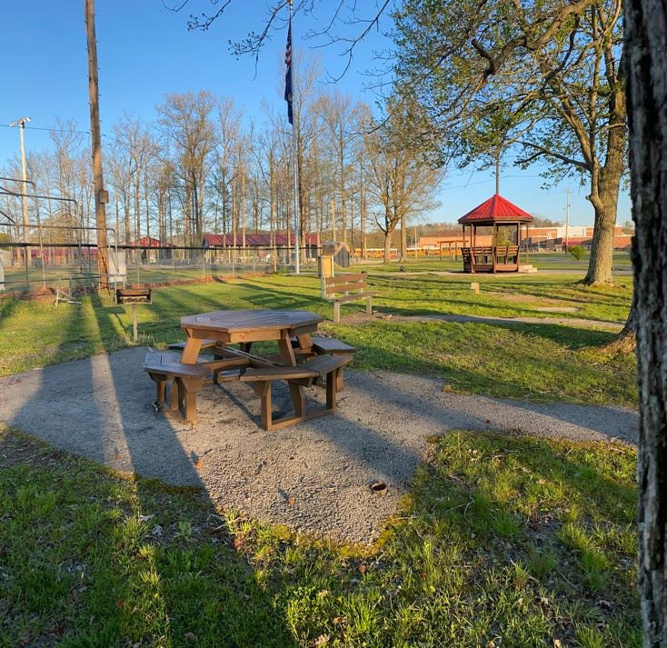 Walking Trail picnic table with bench an