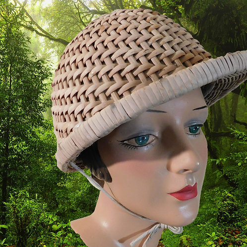 Vintage French Colonial Safari Pith Helmet with a Mask c1920-40
