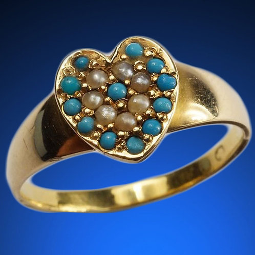 Heart Ring in 18Kt Gold, Turquoise, Pearls c1860s