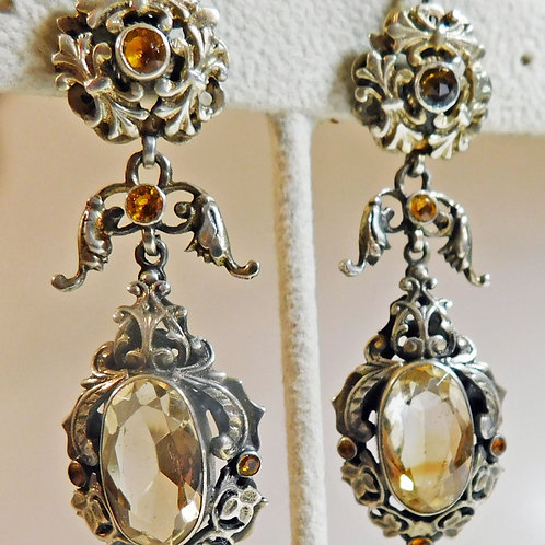 Antique Drop Earrings, Citrines in Silver c1840-60