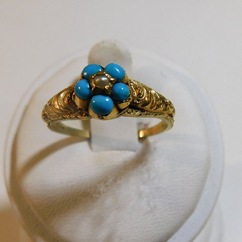 18kt Gold Forget-Me-Not Ring with Turquoise and Pearls c1850