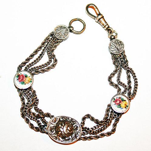 Victorian Albertina Watch Chain Bracelet in Silver & Enamel