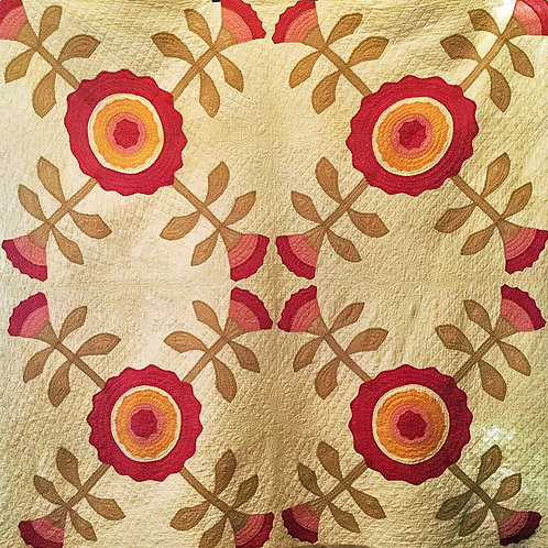 Antique Quilt with Bold Flowers
