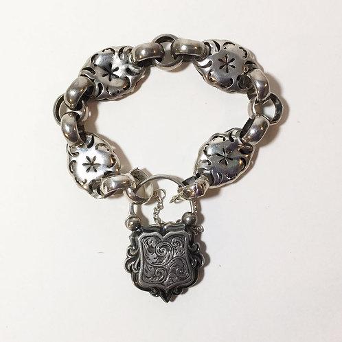 Sterling Silver Bracelet w/ Heart Padlock c1850