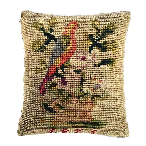 Pin Cushion Wool Work Dated 1875 *  w/ a Parrot
