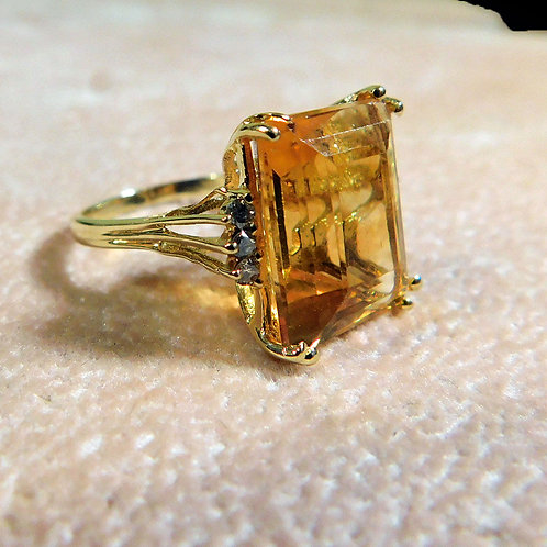 14kt Gold Ring with Large Emerald Cut Citrine, White Sapphires c1940