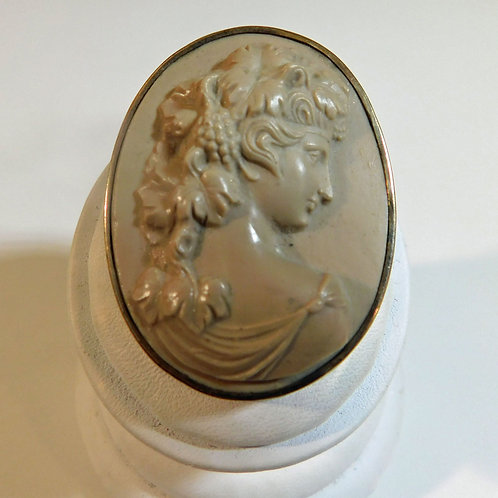 Bacchante Lava Cameo Brooch in Gold Mount c18950