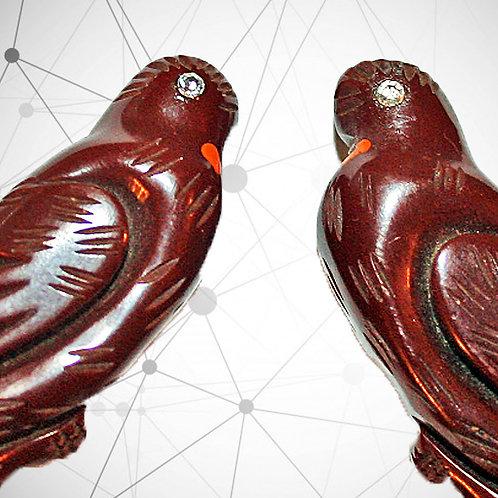 Lovebirds in Bakelite, French c1930-40 Shoe Buckles