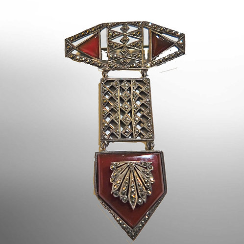 Period Deco Silver Drop Brooch w/ Carnelian and Marcasite c1925