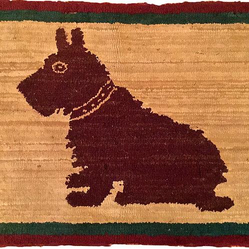 Scottie Dog, Hand Hooked Rug c1940