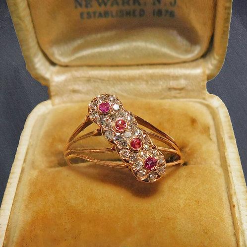 Victorian 14kt Gold Ring w/ Rubies, Diamonds c1870