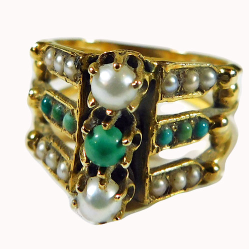 A Victorian Gem! 3 Band Ring in 14kt Gold c1880