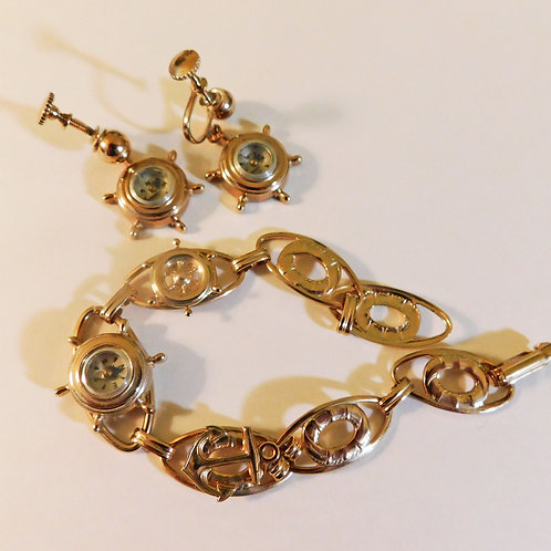 Vintage Nautical Compass Bracelet, Earrings Suite c1925