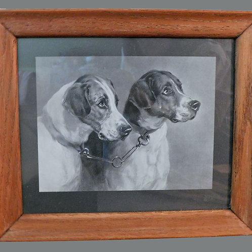 Framed Engraving After Landseer ~ 2 Gun Dogs