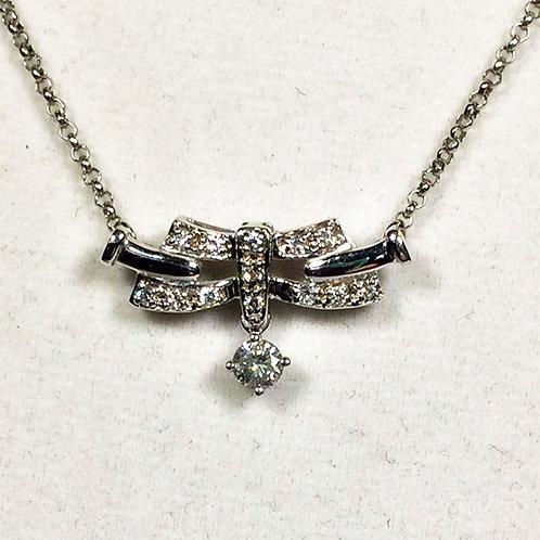 Art Deco Diamond Necklace 14kt Gold .35ctw Diamonds c1930