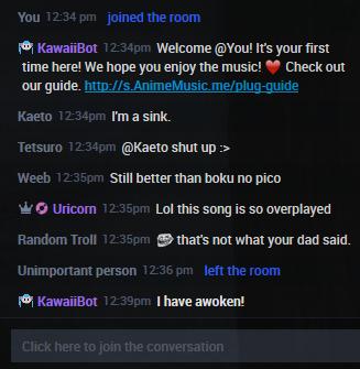Weirdo's in the AnimeMusic.me plug.dj room