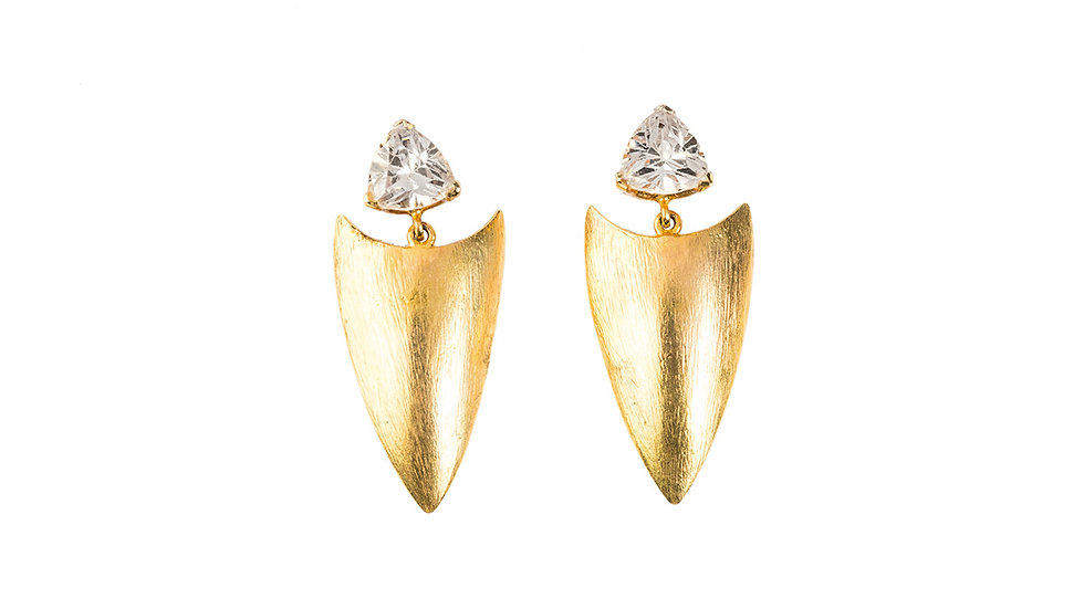Scratched Shield Earrings