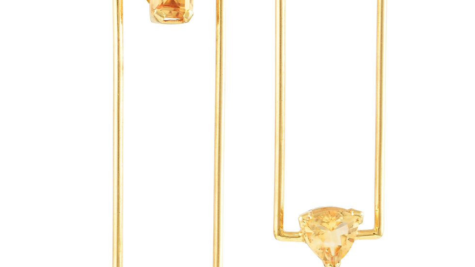 Rectangle Citrine Earrings