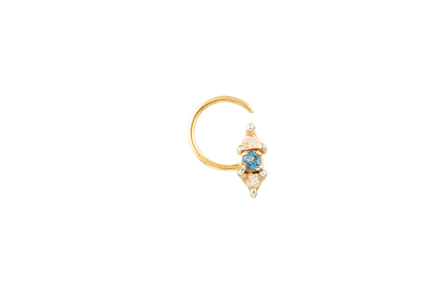 Blue Topaz Nose Pin