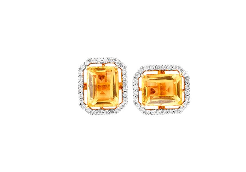 Citrine Diamond Earrings