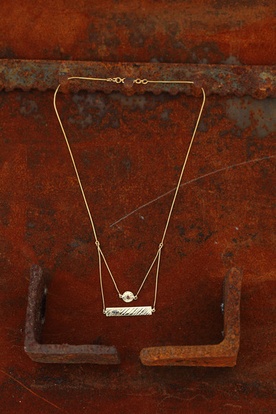 Hammered Disc & Scratched Plate Necklace