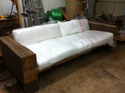 Reclaimed beam patio couch
