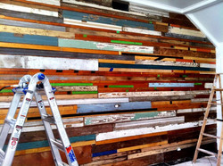 Custom reclaimed wood wall