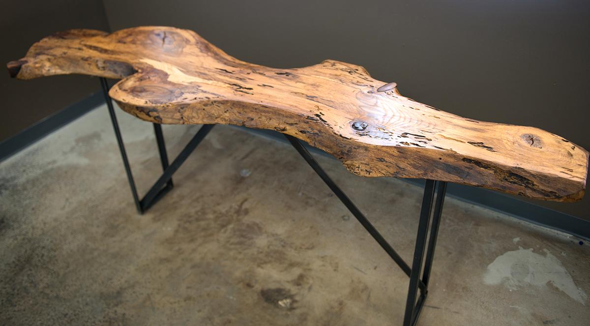 Blackjack oak console table