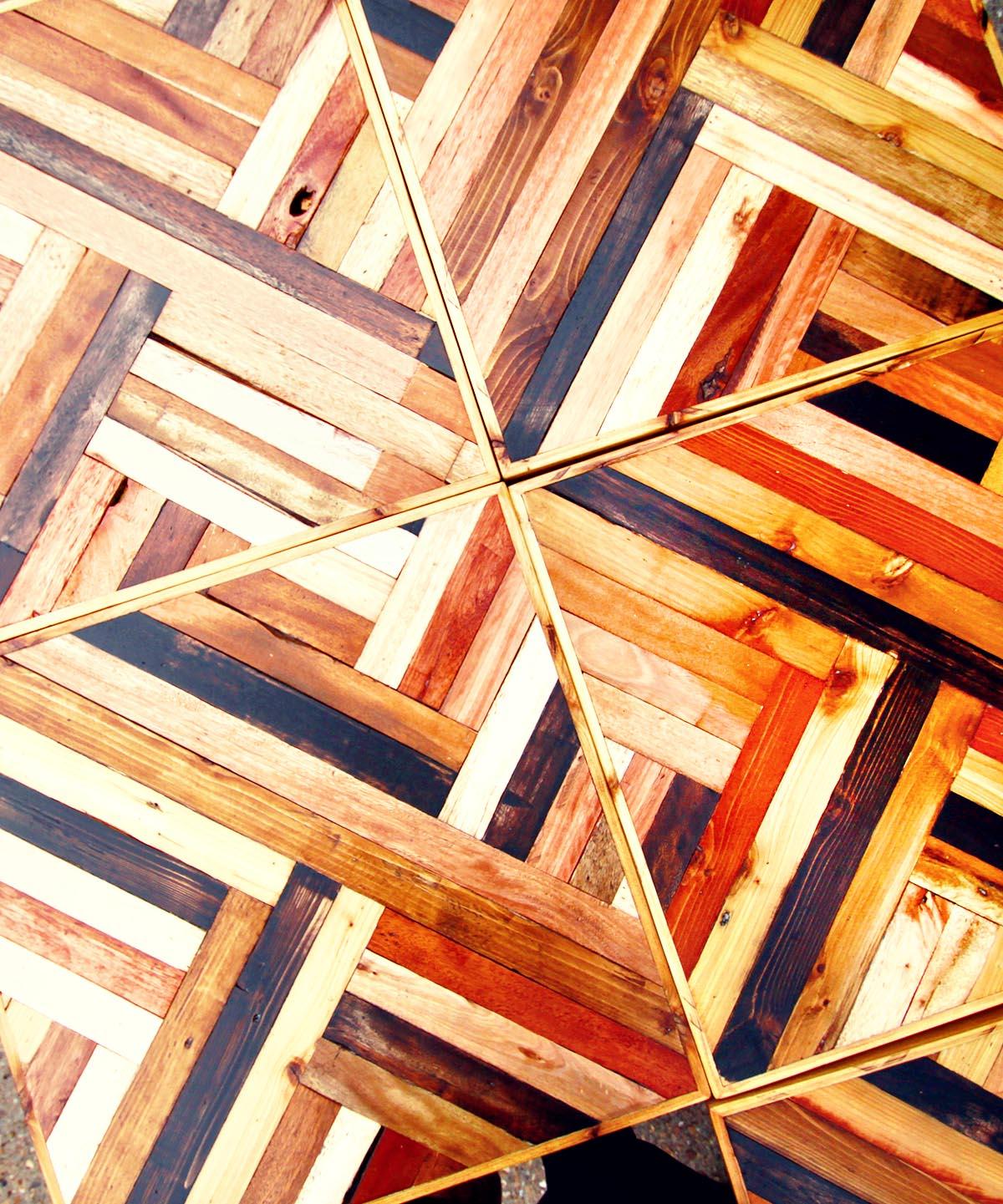 Modular, reclaimed-wood tables